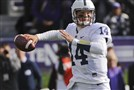 Penn State quarterback Christian Hackenberg passes during the first quarter against Northwestern in Evanston, Ill., on Saturday, Nov. 7, 2015.