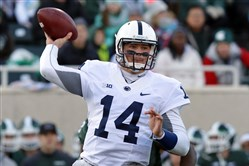 Penn State quarterback Christian Hackenberg throws a pass during the first quarter of an NCAA college football game against Michigan State, Saturday, Nov. 28, 2015, in East Lansing, Mich. (AP Photo/)