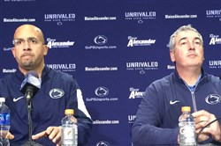 Penn State coach James Franklin and new offensive coordinator Joe Moorhead address the media Wednesday, Dec. 16, 2015 in University Park, Pa.
