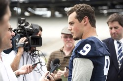 Trace McSorley speaks with reporters Aug. 4 at Penn State media days.