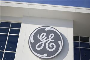 The GE logo at the company's energy plant in Greenville, S.C., on Jan. 10, 2017.