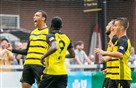Riverhounds teammates join Steevan Dos Santos in celebration of his goal in the team's 4-1 win against Birmingham Legion FC on June 29 at Highmark Stadium.
