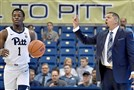Pitt head coach Jeff Capel calls out a play to his team against Troy in the first half Monday, Nov. 12, 2018, at Petersebn Events Center.