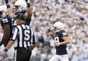 Penn State kicker Jordan Stout (98) celebrates his 57-yard field goal in the second quarter against Pitt in State College, Pa., on Saturday, Sept. 14, 2019.