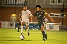 Pittsburgh Riverhounds SC's Ryan James moves up the field against Hartford Athletic.