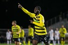 Pittsburgh Riverhounds striker Albert Dikwa celebrates after scoring the winning goal in a 2-1 victory on Saturday night.