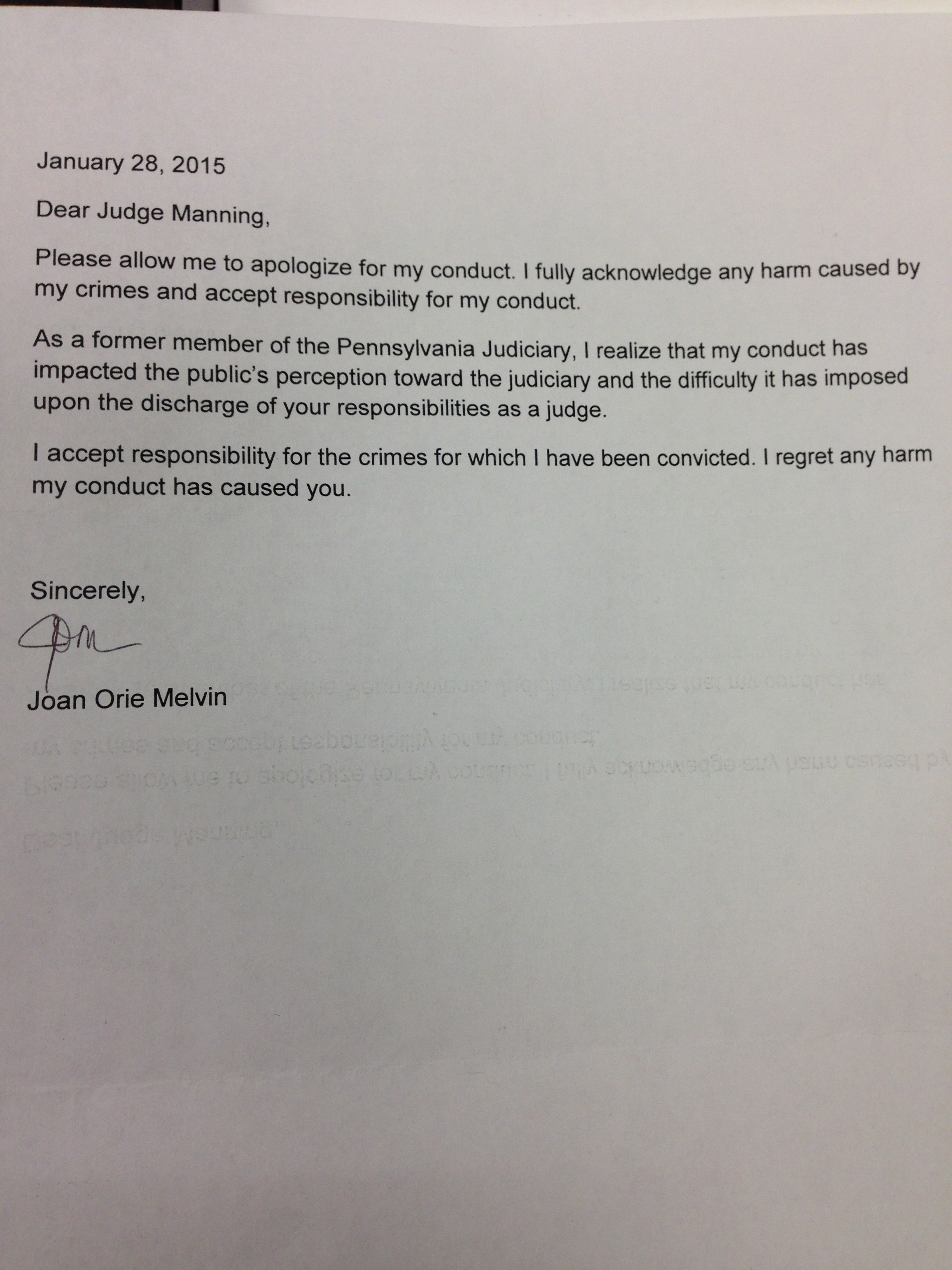 Ex-justice Orie Melvin sends out apology letters to state judiciary