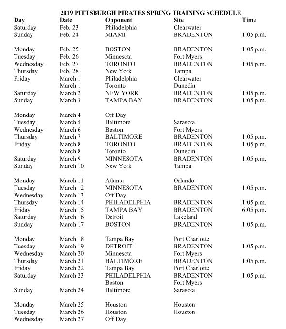 picture regarding Pittsburgh Pirates Printable Schedule known as Heres the Pirates 2019 spring doing exercises timetable