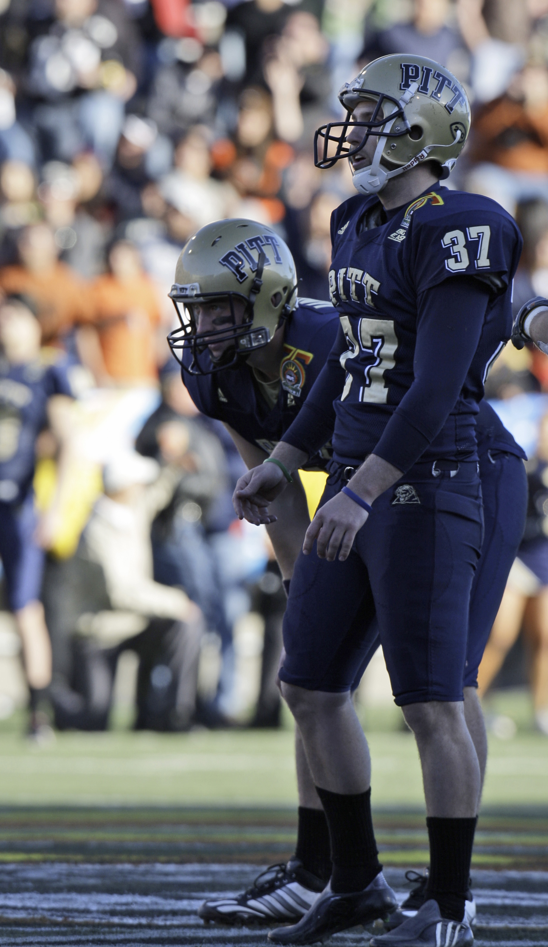 Pittsburgh Place Kicker Conor Lee 37 And His Holder Andrew Janocko 4 Watch The Field Goal Fly Wide In Fourth Quarter Of Sun Bowl NCAA College