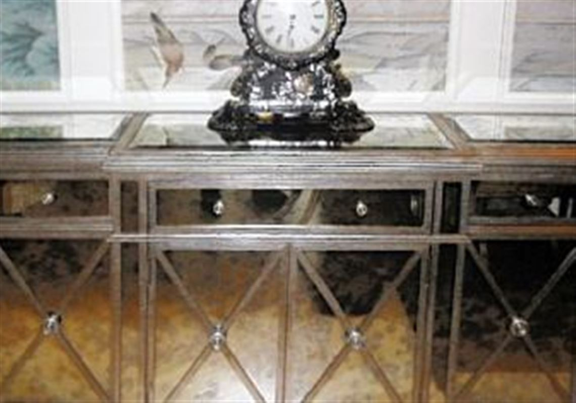 A residential custom antiqued mirror buffet with hand distressed glazed  silver finish was built by Jerry - Father And Son Branch Out To Keep Custom Furniture Business In