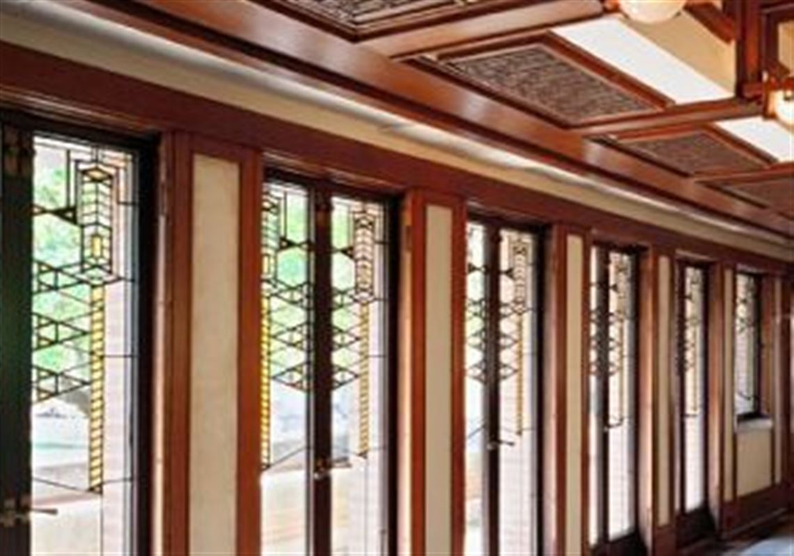 Art Glass Doors Seen In The Interior Of The Robie House.