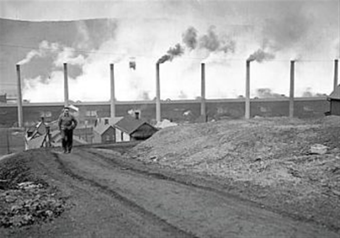 Stacks of the Donora Zinc Works of American Steel & Wire Co. spew smoke at