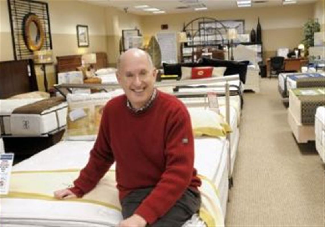 Robert Levin Shows Off His Merchandise In The Mattress Co Squirrel Hill