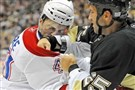 Former Penguin Max Talbot, right, squares off with then-Montreal Canadien Maxim Lapierre.