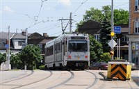"The Port Authority''s ""T"" light rail travels past the Coast Avenue stop in Beechview."
