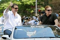 Penguins co-owners Mario Lemieux, left, and Ron Burkle began exploring a possible sale of the team in June.