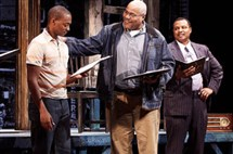 Anthony Mackie, Bill Nunn, Montae Russell and Autumn Malhotra as Raynell in 'Fences'
