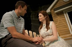 "Shaun Cameron Hall (Chris Keller) and Daina Michelle Griffith (Ann Deever) are caught up in family drama in The REP's ""All My Sons."""