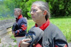 Cathy Griffey and her husband Don pause in June to remember soldiers wounded or killed during the Battle of Bedford at Old Bedford Village.
