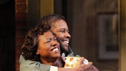 "Denzel Washington as Troy Maxson and Viola Davis as Rose in August Wilson's ""Fences"" on Broadway."