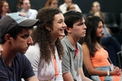 Gene Kelly Award winner Rachael Houser of Quaker Valley High School listens eagerly during the first rehearsal for the National High School Musical Theater Awards, which culminate in a Broadway show on July 1.