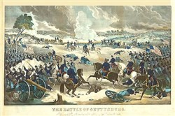 Battle of Gettysburg, showing Union troops advancing from the right during fighting.
