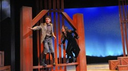"Joel Chambers is Ugly and Allison Griffith is The Cat in ""Honk Jr."" at Playhouse Junior."