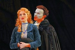 "Erin Mackey, left, as Christine and Ron Bohmer as The Phantom in ""Kopit and Yeston's Phantom"" for Pittsburgh CLO."