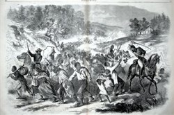 "This illustration, captioned ""Negroes Driven South by Rebel Officers,"" appeared in Harper's Weekly for Nov. 8, 1862. The purpose of the roundup, which occurred near Leesburg, Va., in early November 1862, was to move the enslaved people farther south as Union forces approached, the editor wrote."