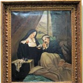 A Sister of Mercy tends a wounded solider in a tent hospital. Reputedly commissioned by Abraham Lincoln, this painting depicts a scene in Vicksburg, Miss., where the Mercy community had been planted by the Pittsburgh sisters. The painting -- whether it is the original or a copy is unknown -- is in the lobby of the Pittsburgh Sisters of Mercy convent in Oakland.