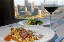 Smoked duck breast comes with chanterelle mushrooms, bicolored corn, black pepper cavatelli and micro cilantro.