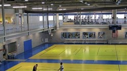 Clarion University's multi-purpose Student Recreation Center includes basketball courts, rock climbing wall and weight room, and inside track and elliptical machines.