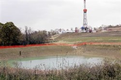 A drilling rig used to bore into the earth to extract natural gas from the Marcellus Shale deep underground in Houston, Pa.