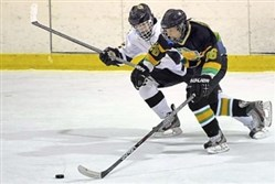 Deer Lakes' Mitchell Rupprecht, right, beats Thomas Jefferson's Brad Delenko to the puck in a PIHL Class A game.