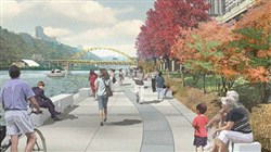 Artist's rendering of the Mon Connector, Mon Wharf Landing and Switchback Connector