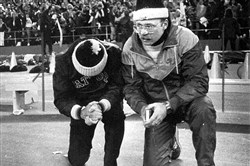 Some prayers are answered: Gateway coach Pete Antimarino, left, and his son, Pete Jr., pray for the Gators to stop North Hills' 2-point conversion attempt in the 1986 title game. Gateway's Todd Washington intercepted the conversion pass as the Gators upset the nation's top-ranked team, 7-6.