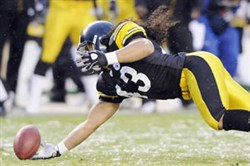 Troy Polamalu's one-handed interception against San Diego was one of the 10 best plays in the 2008 season.