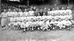 Group picture of the Pirates as 1925 World Series Champions Left to right: Back row: Chick Fraser, scout; Bill Hinchmand, scout; Jack Onslow, coach; Clyde Barnhart, left fielder; Eddie Moore, second baseman; Emil Yde, pitcher; Sam Watters, secretary; Barney Dreyfuss, president and owner; Sam Dreyfuss, treasurer; Johnny Rawlings, infielder; Vic Aldridge, pitcher, Babe Adams, pitcher, Johnny Morrison, pitcher; Lee Meadows, pitcher. Middle row: Earl Smith, catcher; Geroge Haas, outfielder; John (Red) Oldham, pitcher; Fresco Thomapson, infielder;  Joh (Stuffy) McInnis, first baseman; Max (Scoops) Carey, center fielder; Bill McKenchnie manager; Fred Clarke, vice president;Glenn Wright, shortstop; George Grantham, second baseman; Carson (Skeeter) Bigbee, left fielder; Old (Pie) Traynor, third baseman. Front row: Johnny Gooch, catcher; Roy Spencer, catcher, Bernard (Bud) Colloton, pitcher; Jewel Ens, coach; (holding Bill McKechnie Jr.);Hazen Cuyler, right fielder; Remy Kremer, pitcher; Tom Sheehan, pitcher.
