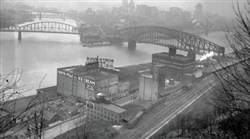 Pittsburgh as seen from above North Pole Ice Cream and Lawrence Paint along the riverfront in 1942.
