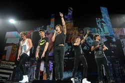 One Direction -- Niall Horan, left, Zayn Malik, Harry Styles, Liam Payne and Louis Tomlinson -- performs at the Consol Energy Center in July 2013.