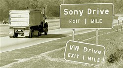 Sony Drive sign replaced the VW Drive in 1990 along Route 119 when Sony invested more than $300 million to transform the former Volkswagen plant in Westmoreland County into a  television picture-making factory.