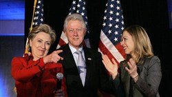 Hillary Rodham Clinton, with her husband, former President Bill Clinton and daughter Chelsea.