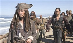 "Johnny Depp in ""Pirates of the Caribbean: At World's End."""