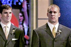 Eli Manning, left, and Ben Roethlisberger were two of the top quarterbacks taken in the 2004 NFL draft.