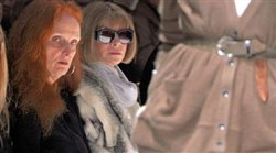 "The two most powerful women at Vogue, creative director Grace Coddington, left, and editor-in-chief Anna Wintour, watch a runway show in the 2009 documentary ""The September Issue."" Editors and buyers attend fashion shows to see if a new collection has potential to make a splash with readers and store clients."