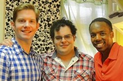 "From left, Rory O'Malley, Josh Gad and Tommar Wilson of best musical ""The Book of Mormon,"" all Carnegie Mellon graduates, gather for an interview in O'Malley's dressing room at Broadway's Eugene O'Neill Theater."