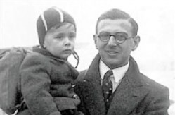 Nicholas Winton during World War II with a one of the rescued children he spirited out of Nazi-occupied Czechoslovakia to foster families in Great Britain and Sweden.