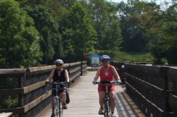 Two bike riders leave Confluence, Somerset County, on a biking adventure in this undated photo.