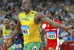 Like a flash: Usain Bolt of Jamaica setting a record at the Beijing Olympics in 2008