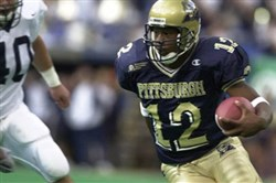 Pitt's Rod Rutherford heads to the end zone for the only touchdown of the game in Pitt's 12-0 win over Penn State at Three Rivers Stadium in September 2000.